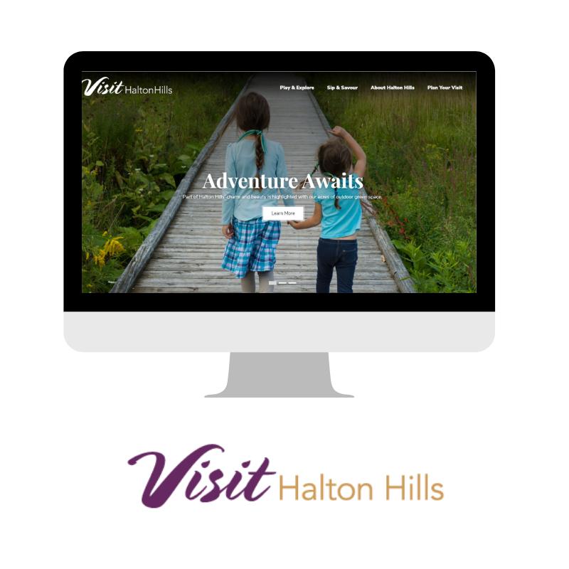 Visit Halton Hills website on computer with visit halton hills logo